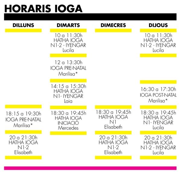 horarios lc2019 yoga